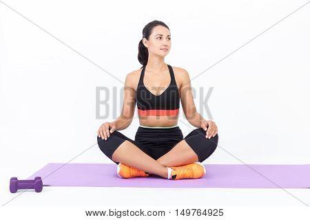 Girl Meditating On Mat