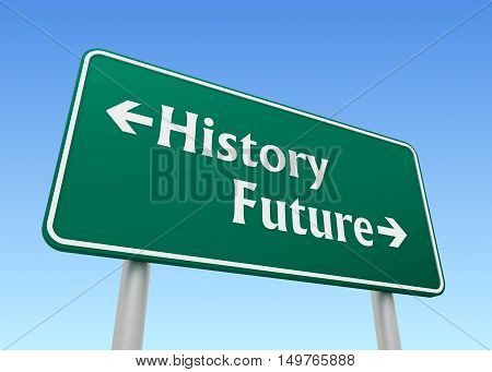 history future green road sign 3d concept illustration