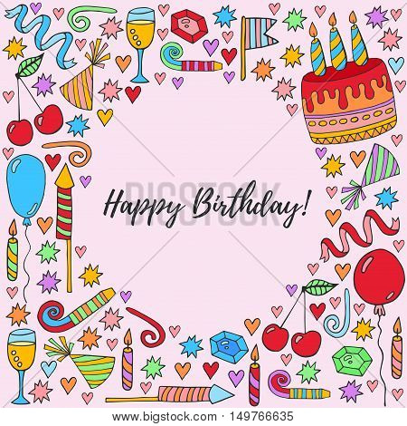 Birthday card with birthday party doodles symbols cake candles cherry balloons