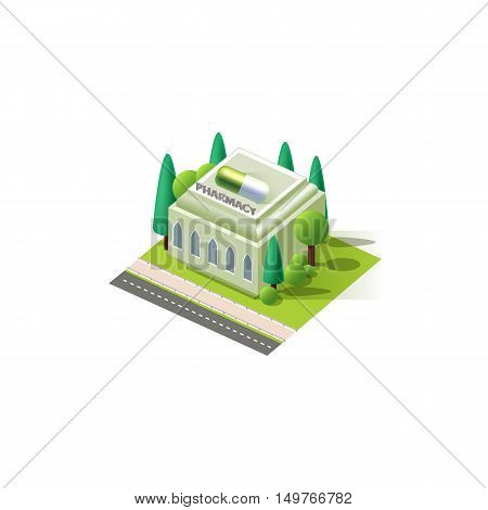 Stock vector illustration isometrics isolated pharmacy building with arranged territory for business center on a white background