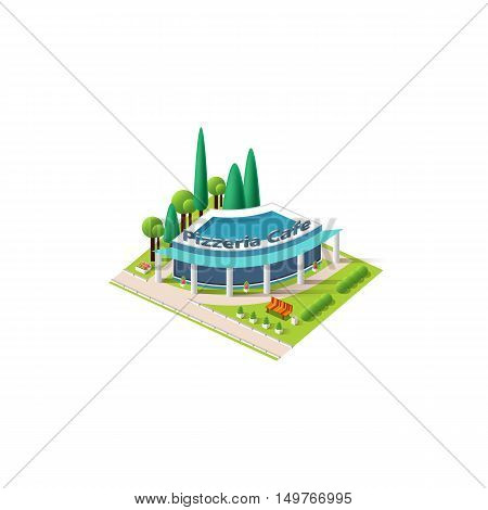 Stock vector illustration isometrics isolated pizzeria, cafe building with arranged territory for business center on a white background