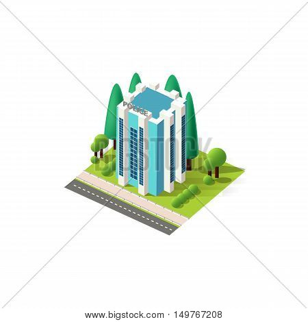 Stock vector illustration isometrics isolated multistory police station building with offices and arranged territory for business center on a white background