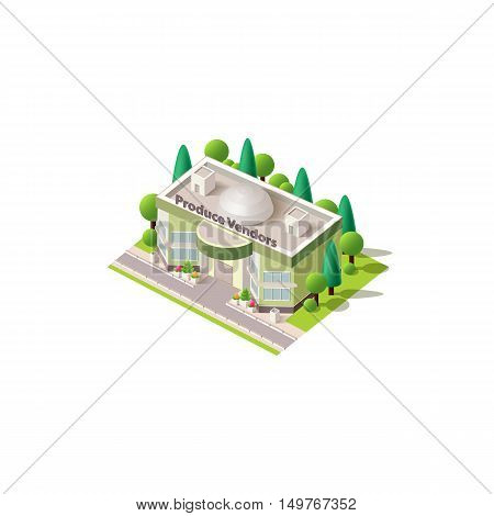 Stock vector illustration isometrics isolated produce vendors building with offices and arranged territory for business center on a white background