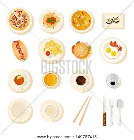 Set with top view of isolated dish icons with different meal fastfood drinks junk food flatware on blank background vector illustration