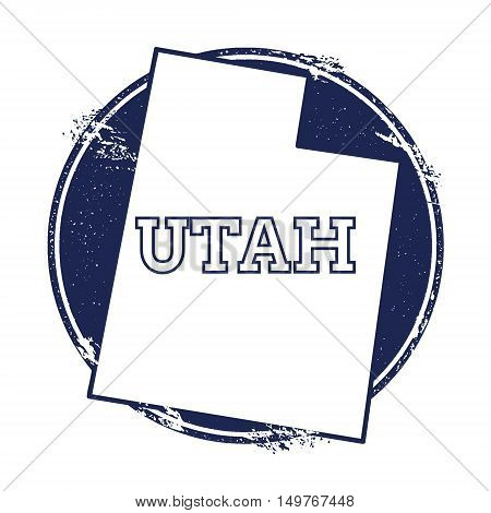 Utah Vector Map. Grunge Rubber Stamp With The Name And Map Of Utah, Vector Illustration. Can Be Used