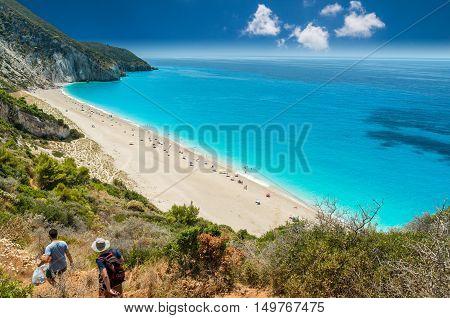Milos beach on Lefkada island, Greece. Milos beach near the Agios Nikitas village on Lefkada, Greece