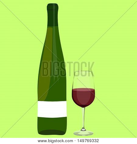 Winebottle Ang Glass With Wine Vector Illustration