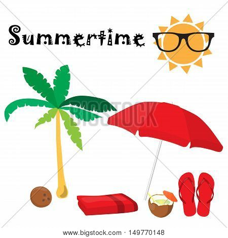 Summertime Accessories Set. Red Umbrella, Sun, Sunglasses, Slippers, Towel, Palm, Coconut, Coconut S