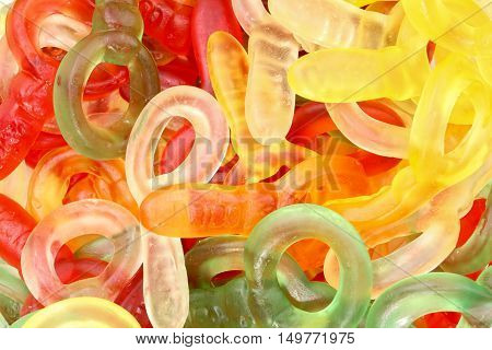 closeup on lots of Colorful gummie candies