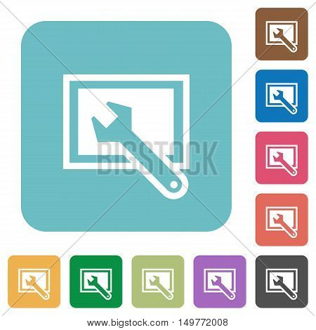Flat screen settings icons on rounded square color backgrounds.