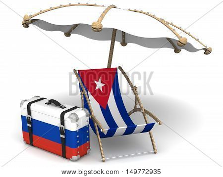 Russian tourists in Cuba. Chaise with a flag of Cuba a suitcase with the flag of the Russian Federation and a beach umbrella on the white surface. The concept of vacation of Russians in Cuba. Isolated. 3D Illustration