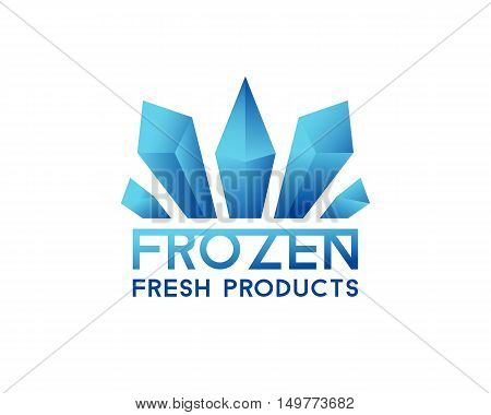 Freeze crystal ice abstract vector icon. Logo for frozen products