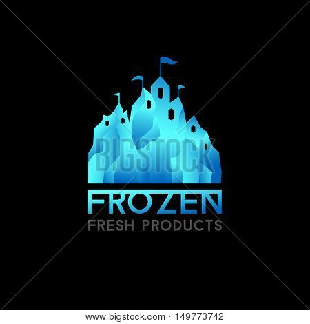 Castle logo for frozen products. Freeze crystal ice abstract vector icon.