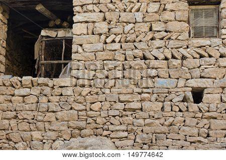 Old stone wall in Iraqi countryside near Erbil city