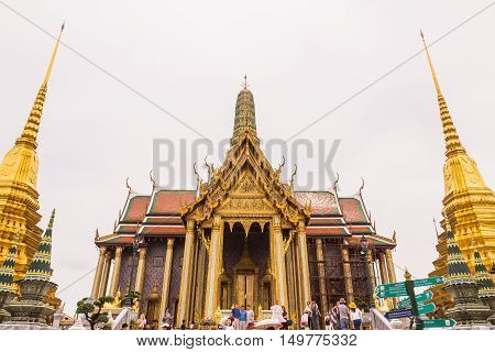 Bangkok Thailand - June 5 2016 : A lot of tourists at the Emerald Buddha temple or
