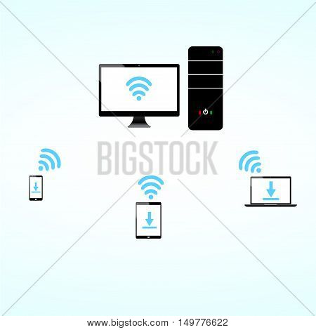 computer laptop tablet smart phone wifi connect download icon