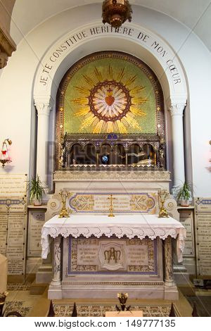 Paray-Le-Monial France - September 13 2016 the Relics of St. Margaret Mary Alacoque in the chapel in which Jesus appeared to her and revealed the truth of his heart.