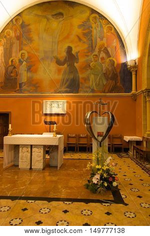 Paray Le Monial France - September 13 2016: Inside the chapel of the revelation of Jesus Margaret Mary Alacoque in Paray Le Monial France