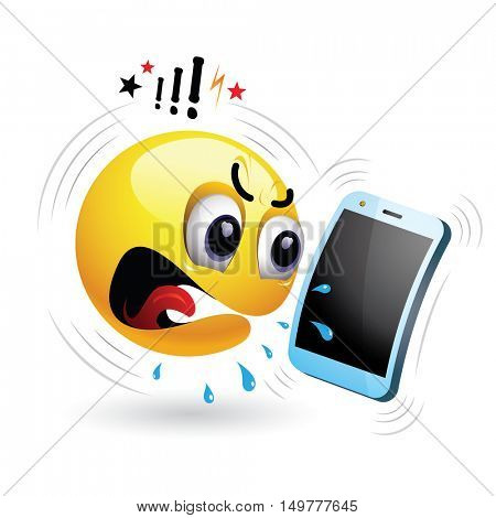 Smiley talking on a phone. Vector illustration of a smiley getting angry and yelling during phone talk.