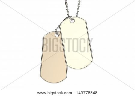 dog tags 3D rendering isolated on white background
