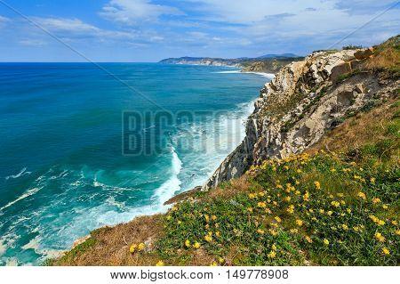 Summer Ocean Coastline View In Getxo Town (spain).
