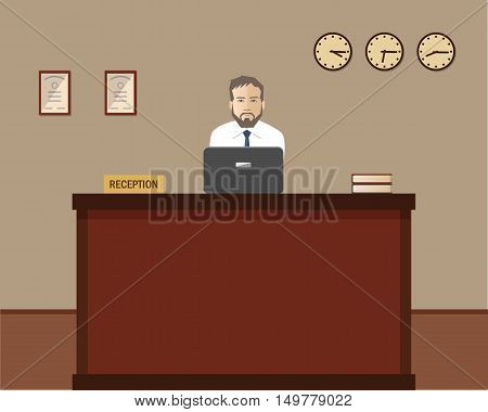 Hotel reception. Male receptionist at desk in the picture. Travel, hospitality, hotel booking concept. Vector flat illustration