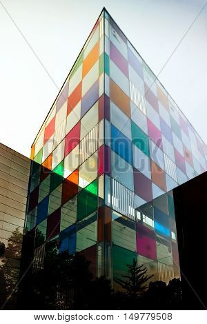 Modern Building With Glass Colorized Walls