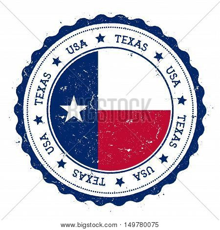 Texas Flag Badge. Grunge Rubber Stamp With Texas Flag. Vintage Travel Stamp With Circular Text, Star