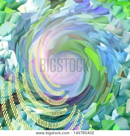 Abstract coloring green background of the abstract gradient with visual lighting,mosaic,pinch and twirl effects,and binary code:null and zero