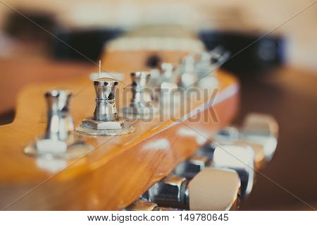 Electric Guitar Headstock And Chords Detail, Music Symbol