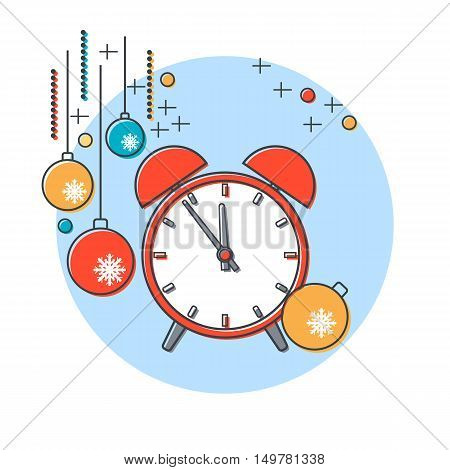 Thin line and flat design style Christmas and New Year vector illustration with alarm clock and colorful balls