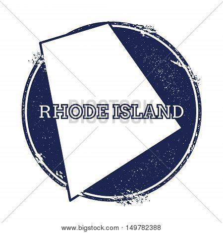 Rhode Island Vector Map. Grunge Rubber Stamp With The Name And Map Of Rhode Island, Vector Illustrat