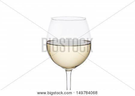 Wineglass with white wine isolated over white background