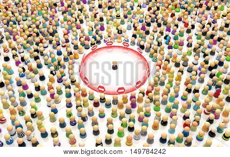Crowd of small symbolic figures personal space border 3d illustration horizontal