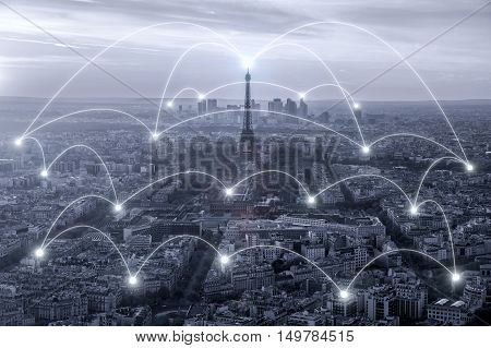 Network business connection system in Paris city in France on background. Paris network business connection concept.