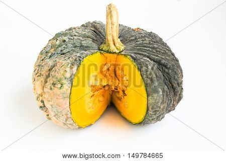 yellow pumpkin vegetable on a white background