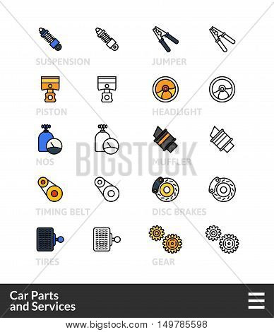 Black and color outline icons, slim line pictograms vector set 36 - Car parts and services symbol collection