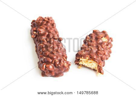 chocolate bar isolated on white / chocolate protein bar / Piece of chocolate candy isolated on white background