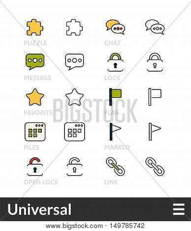 Black and color outline icons, slim line pictograms vector set 1 - universal symbol collection
