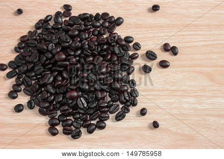 Coffee on grunge wooden background / top view