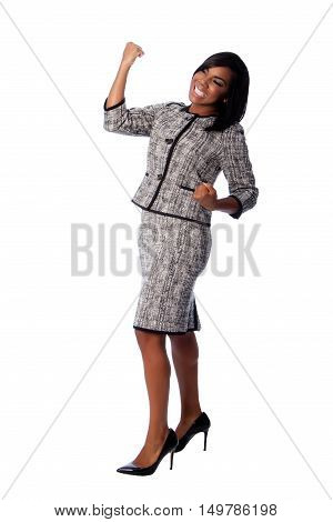 Winning Business Woman Cheering