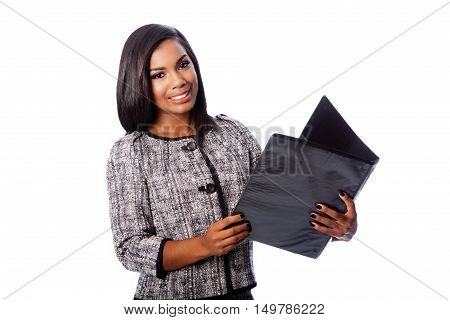 Beautiful Business Woman With Portfolio Binder