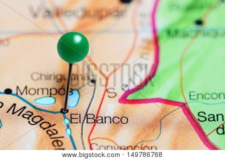 El Banco pinned on a map of Colombia