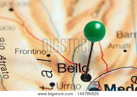 Bello pinned on a map of Colombia