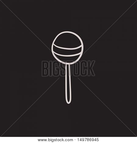 Round lollipop vector sketch icon isolated on background. Hand drawn Round lollipop icon. Round lollipop sketch icon for infographic, website or app.