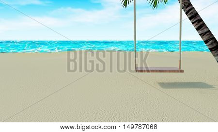 Wooden chair swing hang on palm tree with beach lounge style and tropical sea view with blue sky-3d rendering
