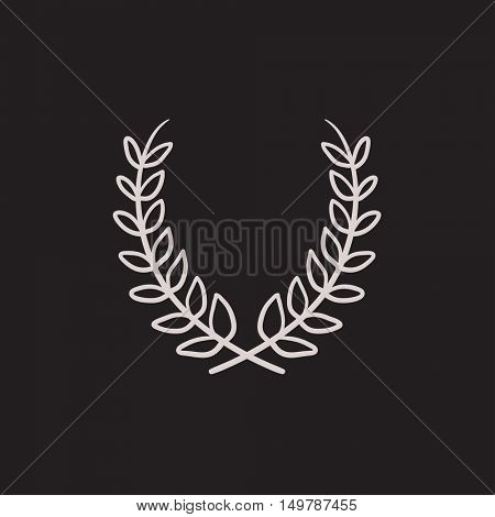 Laurel wreath vector sketch icon isolated on background. Hand drawn Laurel wreath icon. Laurel wreath sketch icon for infographic, website or app.