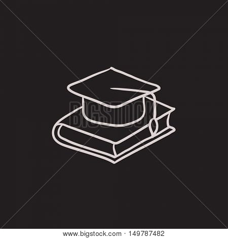 Graduation cap laying on book vector sketch icon isolated on background. Hand drawn Graduation cap laying on book icon. Graduation cap laying on book sketch icon for infographic, website or app.