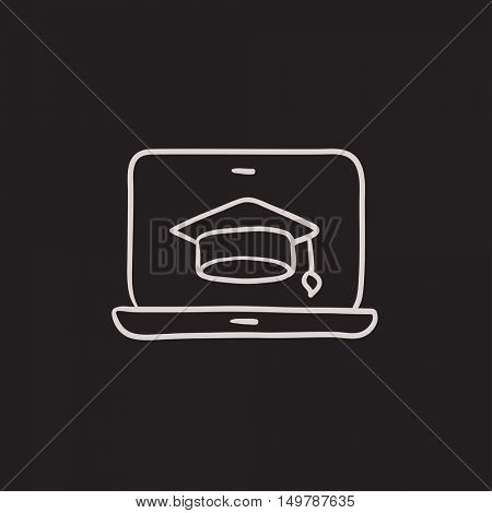 Laptop with graduation cap on screen vector sketch icon isolated on background. Hand drawn Laptop with graduation cap icon. Laptop with graduation cap sketch icon for infographic, website or app.