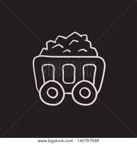 Mining coal cart vector sketch icon isolated on background. Hand drawn Mining coal cart icon. Mining coal cart sketch icon for infographic, website or app.